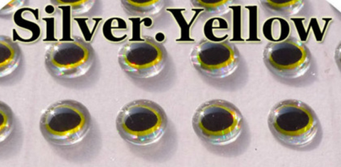 4 mm Silver/Golden Yellow/Black Teardrop Pupil 3D Lure Eyes (50 Pack)