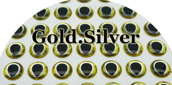 5mm Gold Back Silver Lined, Black Pupil 3D Lure Eyes (50 Pack)