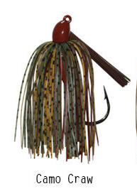 "Pack of 2 - Tungsten 1 OZ Wire Tied Flipping Jig ""Camo Craw"""