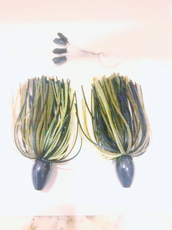Pack of 2 - Tungsten 3/4 OZ Wire Tied Skirted Punch Rig in in