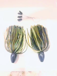 "Pack of 2 - Tungsten 1/2 OZ Wire Tied Skirted Punch Rig in in ""Green Pumpkin Black"""