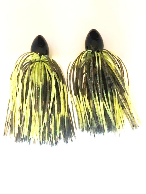 Pack of 2 - Tungsten 1 OZ Wire Tied Skirted Punch Rig in in