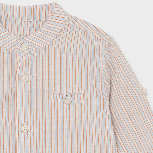 Mayoral Linen Striped Shirt in Caramel