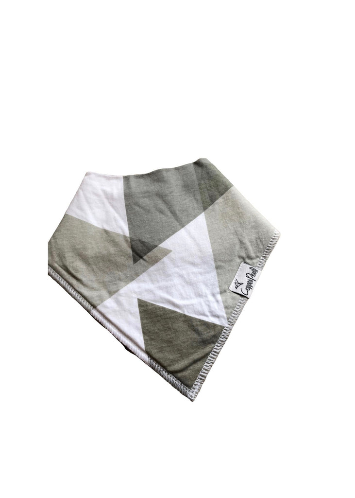 Copper Pearl Bandana Bib-grey geo