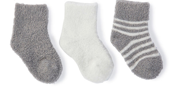 Barefoot Dreams 3-pack Cozy Chic Infant Socks-pewter