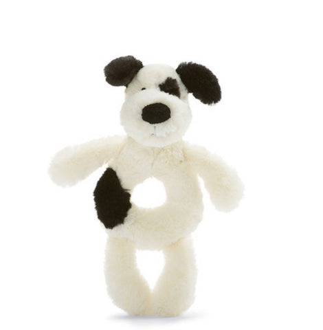 Jellycat Bashful Ring Rattle Black and White Puppy