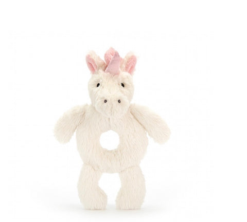 Jellycat Bashful Ring Rattle - Unicorn