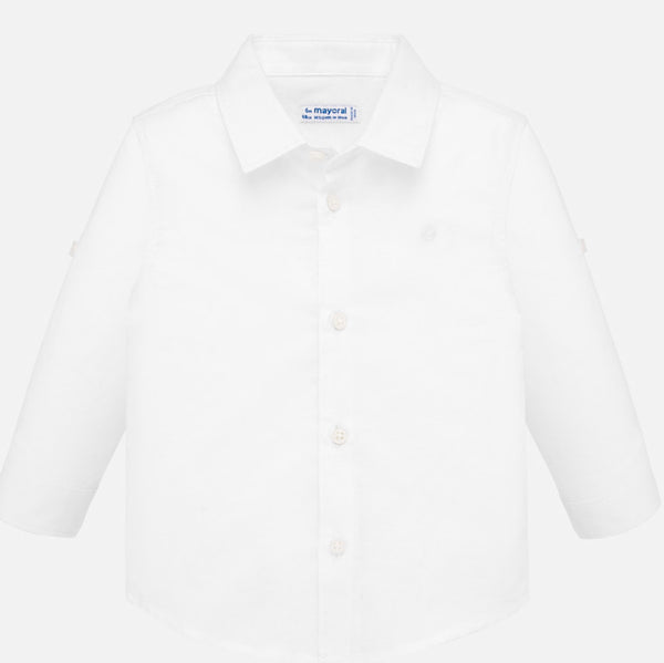 Mayoral Long Sleeve Dressy Shirt in White