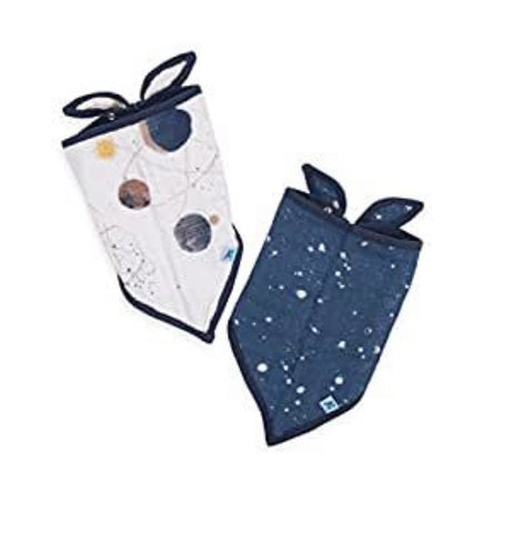 Little Unicorn Cotton Muslin Bandana Bib 2-pack in Planetary
