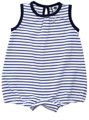 Busy Bees Bailey Romper in Blue Stripe