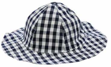Busy Bees Sun hat in Navy Gingham