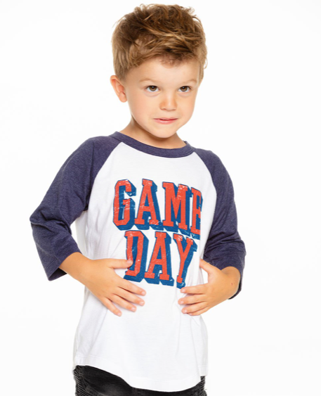 Chaser Kids Vintage Jersey Raglan Baseball Tee in Game Day