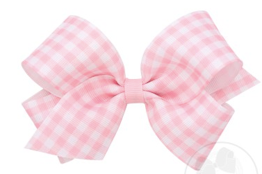 Wee Ones Medium Bow-light pink gingham