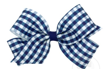 Wee Ones Medium Bow-navy gingham