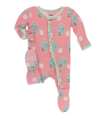 Kickee Pants Ruffle Footie-strawberry milk