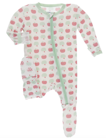 Kickee Pants Ruffle Footie-natural apples