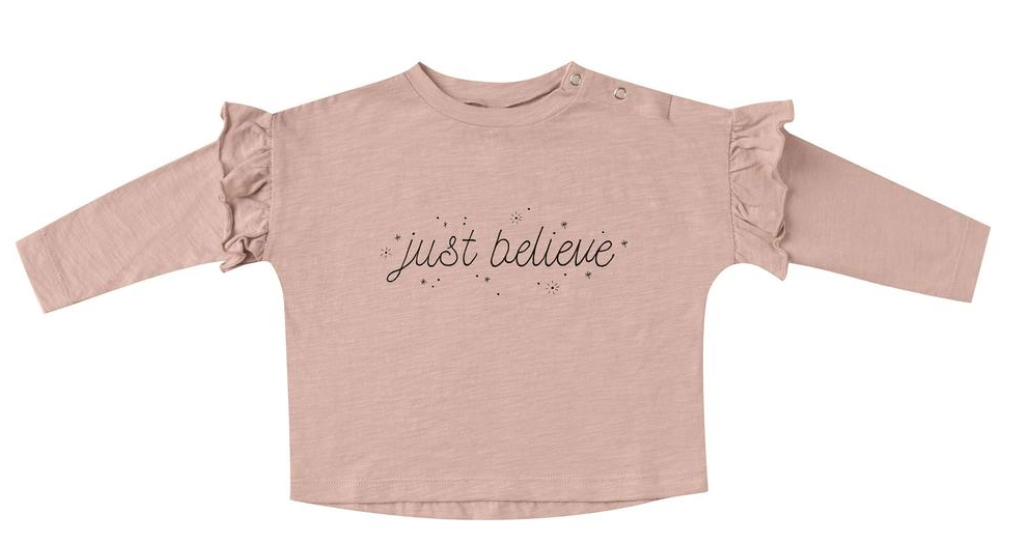 Rylee + Cru Just Believe Ruffle Tee - Rose