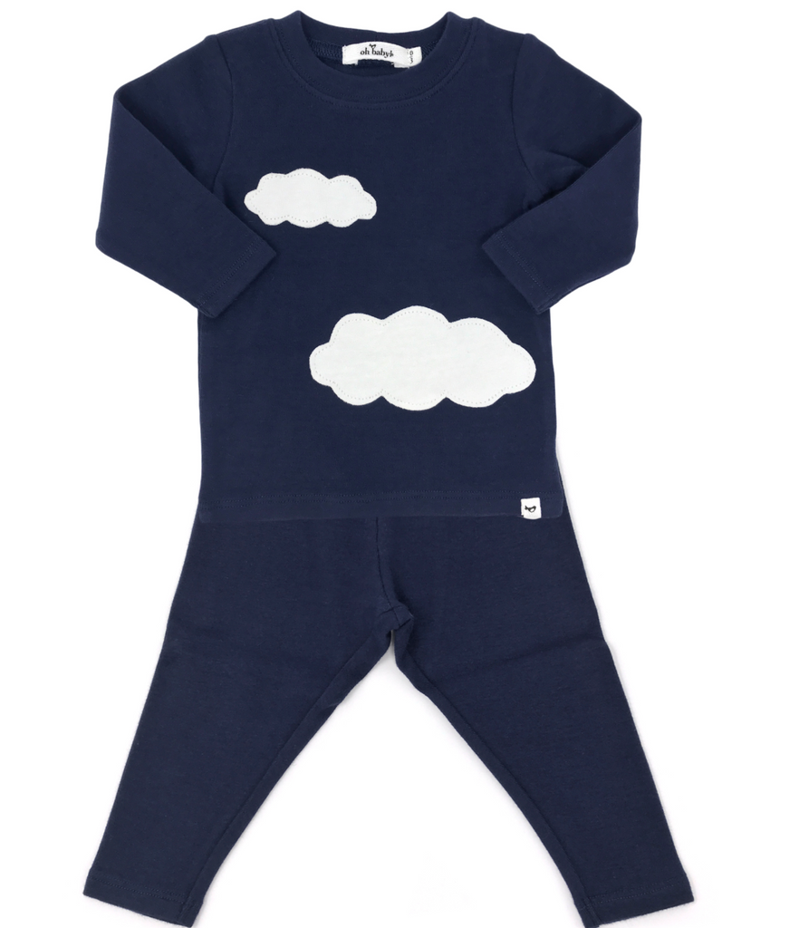 Oh baby! 2 piece set-navy clouds