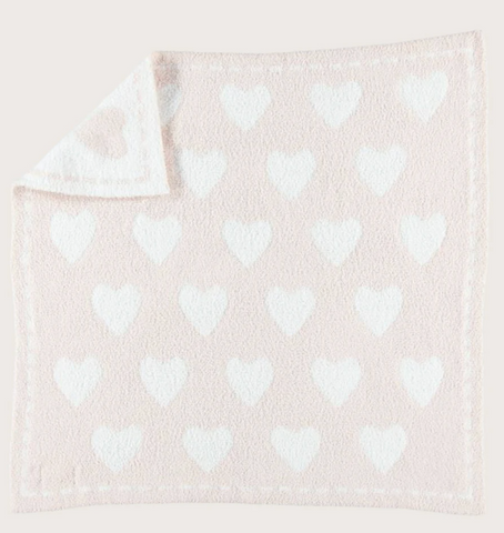 Barefoot Dreams Receiving Blanket-pink hearts