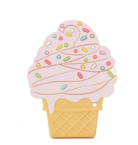Lou Lou Lollipop Single Teether-Strawberry Ice Cream