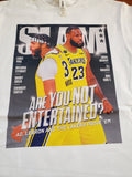 Los Angeles Lakers LeBron James & Anthony Davis Are You Not Entertained Cover Men's White T-Shirt
