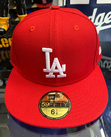 Los Angeles Dodgers New Era Red Fitted Hat