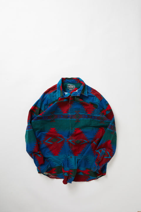 80's Woolrich Patterned Chamois Overshirt (XL)