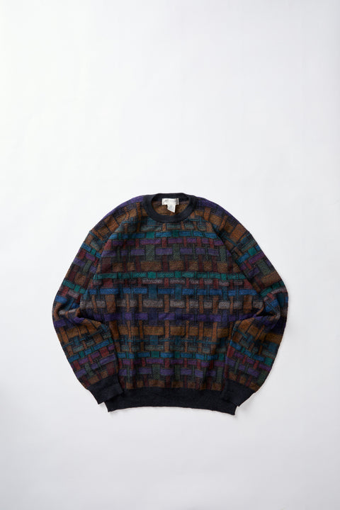 80's Patterned Knit Sweater (XL)