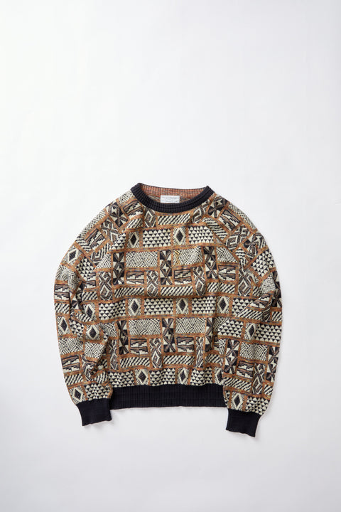 80's Patterned Knit Sweater (L)