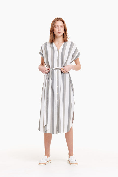 Suri Grey Olive Stripe