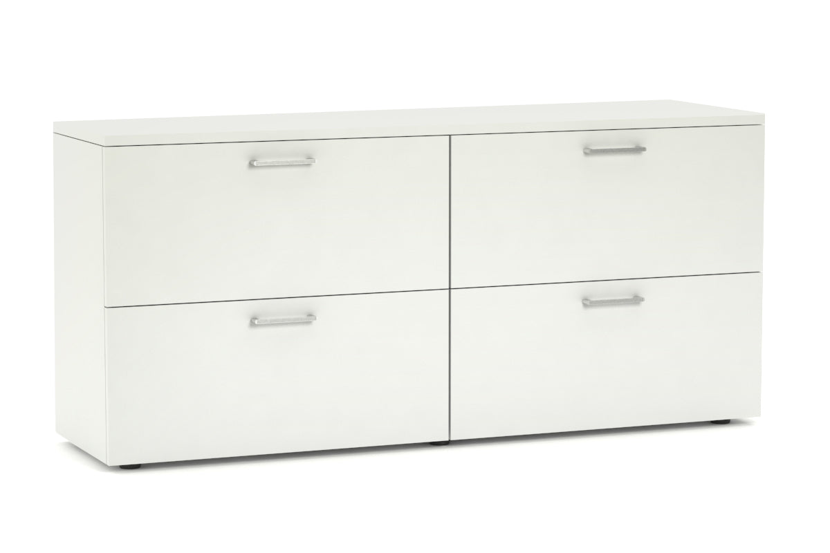 Uniform Small 4 Drawer Lateral Filing Cabinet Silver Handle
