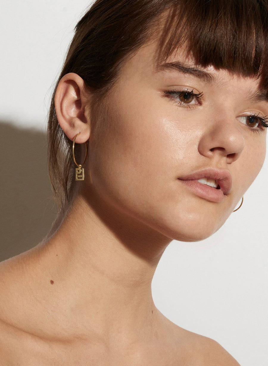PF Charm Hoop Earrings