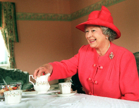 Queen Elizabeth having tea