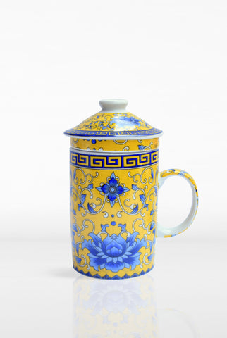 Ornate Tea Infuser Mug with Strainer and Lid Yellow