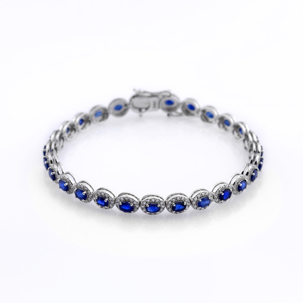 zirconia bangles umcho wedding gift fashion bracelets for gifts sterling item created oval blue jewelry women silver sapphire in from new bracelet romantic connected