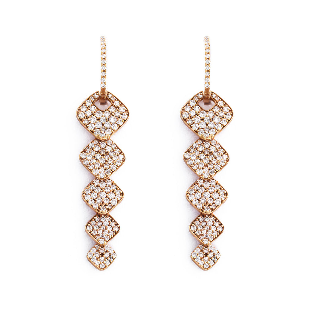 Rose Gold Hanging Loop Diamond Pave Earrings | Earrings | Elias Allan