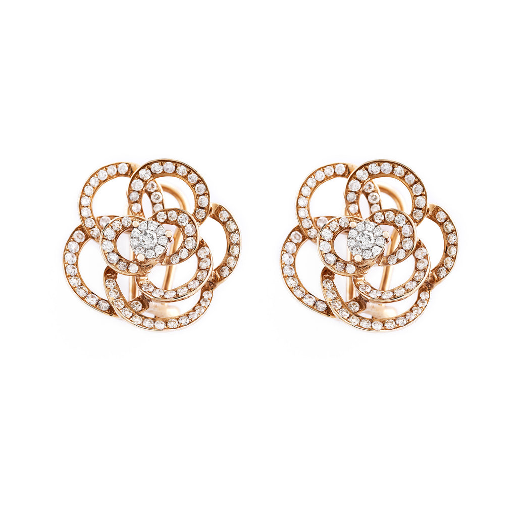 Rose Gold Pave Diamond Flower Stud Earrings Earrings