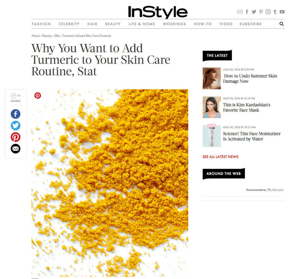 IN STYLE MAGAZINE: TURMERIC-INFUSED SKIN CARE PRODUCTS