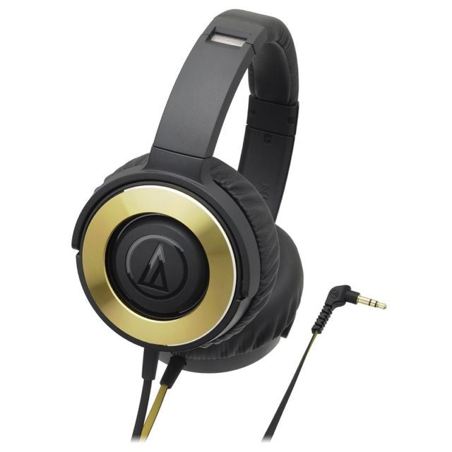 Audio Technica ATH-WS550iS Portable Solid Bass Series Headphones (BGD - Black / Gold), Audio Technica - HeadfiAudio