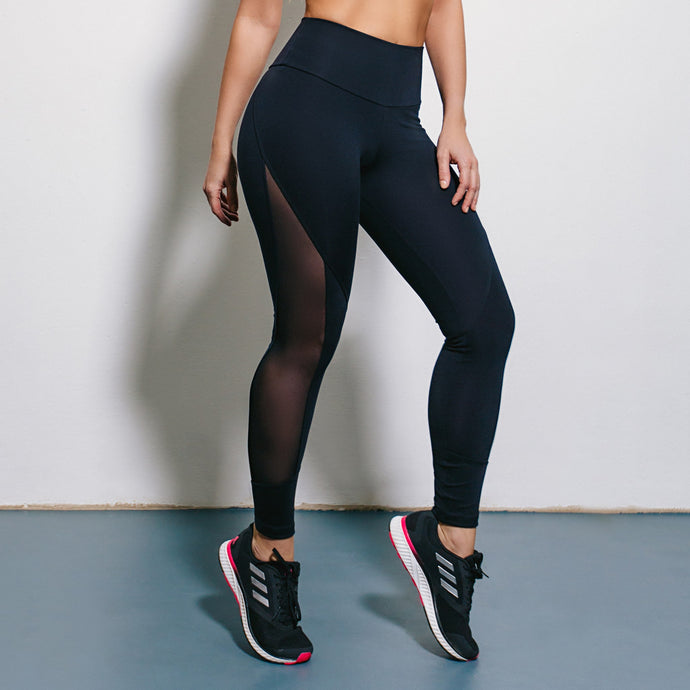 BLACK B SUPPLEX LEGGINGS WITH MESH