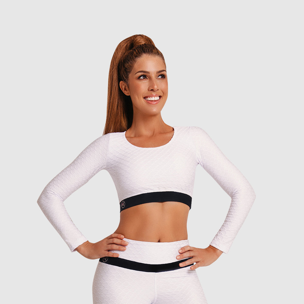 3D GLOW CROP TOP WHITE