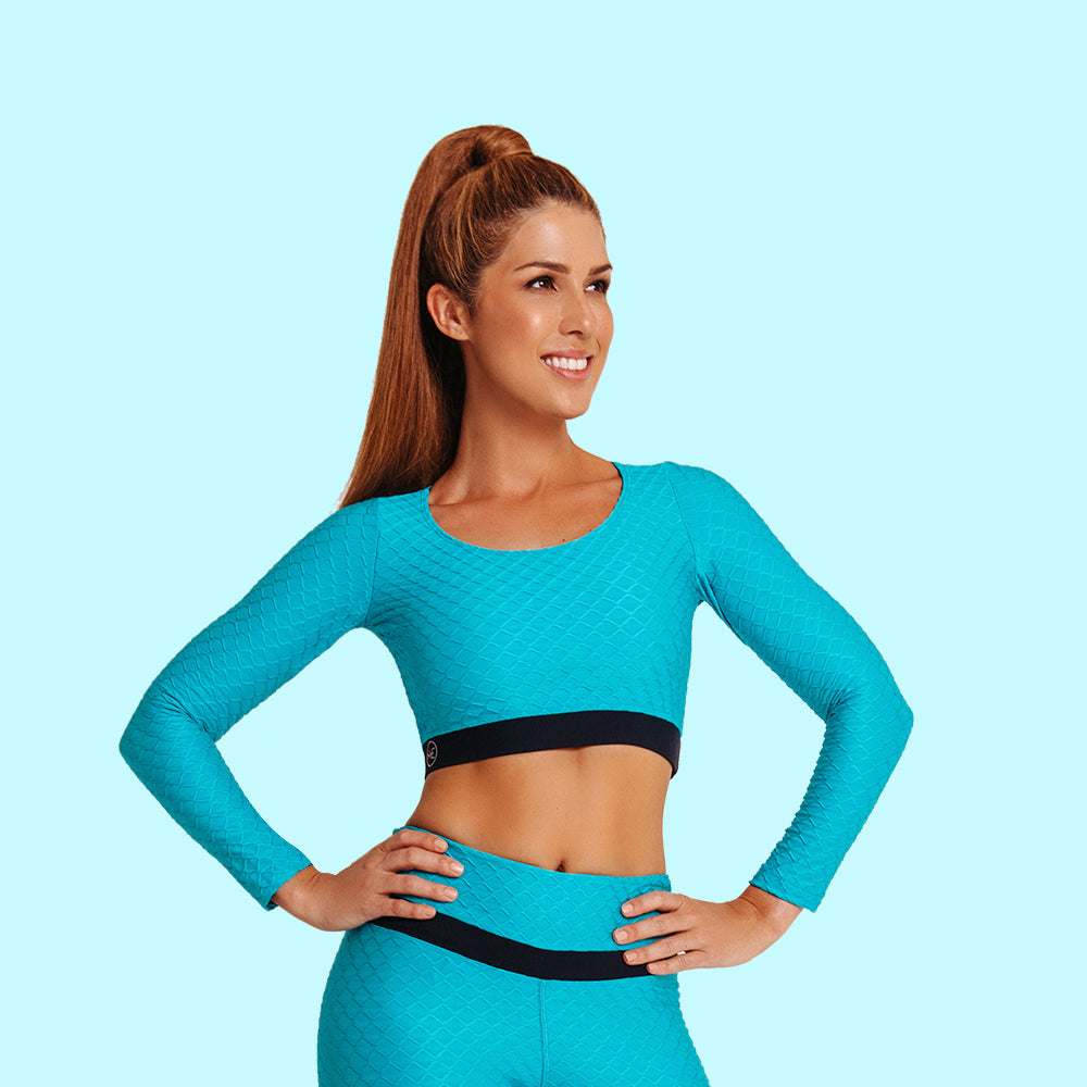 3D GLOW CROP TOP BLUE