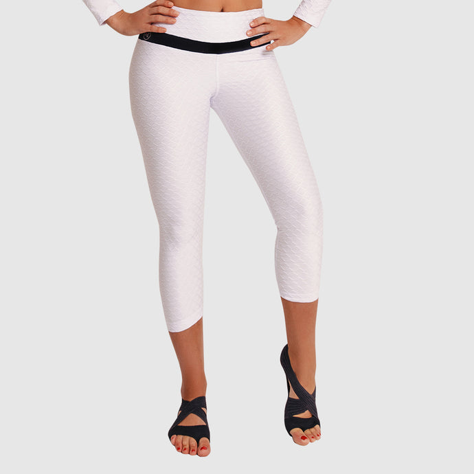 3D GLOW CAPRI PANTS WHITE