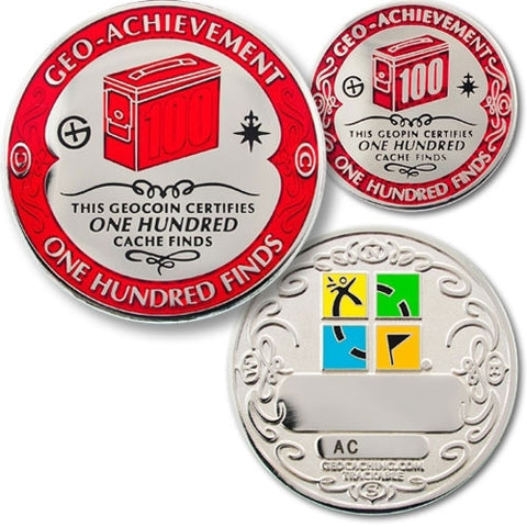 100 Finds Geo-Achievement™ Award Set for geocaching