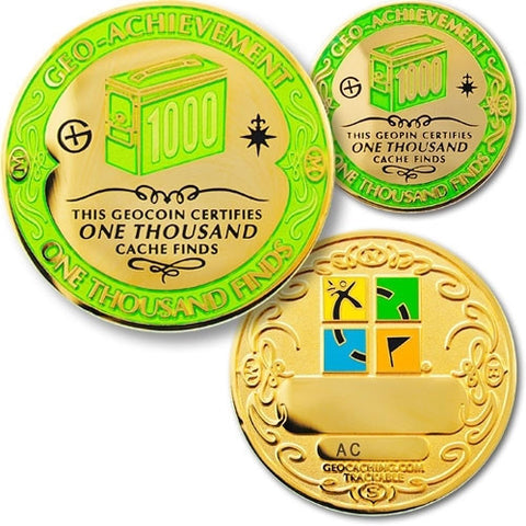 1000 Finds Geo-Achievement™ Award Set for geocaching