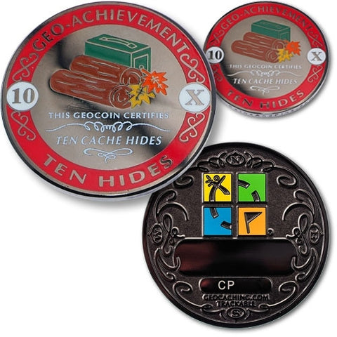 10 Hides Geo Achievement Award Set for geocaching