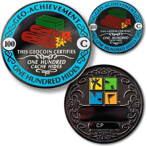 100 Hides Geo Achievement™ Award Set for geocaching