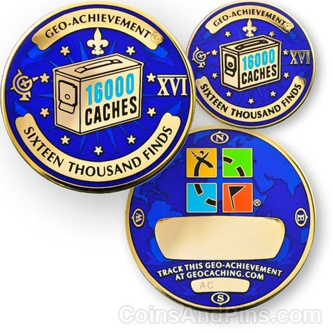 16000 Finds Geo-Achievement™ Award Set for geocaching