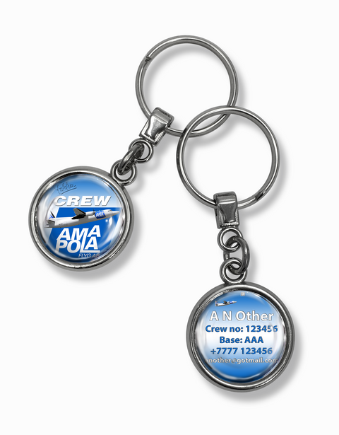Amapola Airlines Fokker 50 Metal Keyrings