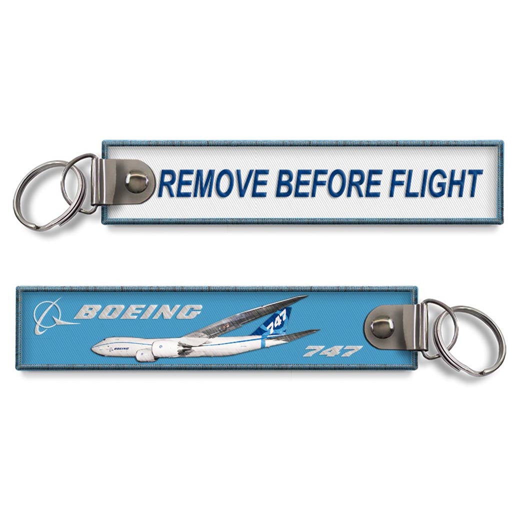 B747 Remove Before Flight Woven Keyring